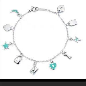 Brand new tiffany charms love note dangle bracelet